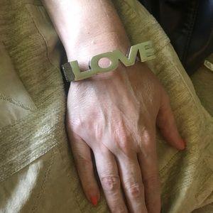 Love block braclet silvertone bangle